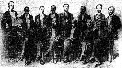 The jury that tried Millie Gaines in 1869 for the murder of a white man, and freed her on an insanity please. It was composed of six colored and six white men. This was the first murder trial in the District in which a mixed jury sat. Reading from left to right seated; 2, David Fisher; 4, the Rev. James D. Reed; 6, Leonard C. Bailey. Standing from left to right; 2, Charles Humphries; 4, John A. Gray; 6, Herbert Harris (The Baltimore Afro-American - May 4th, 1935)