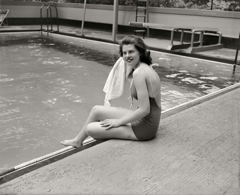 "Washington, D.C., circa 1937. ""Jean Wallace."" The daughter of Henry A. Wallace, Secretary of Agriculture and future Vice President, at the Wardman Park Hotel pool."