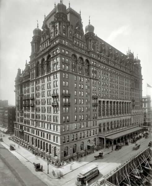 """Circa 1902. """"The Waldorf-Astoria, New York."""" The original, and somewhat forbidding, Waldorf at Fifth Avenue and 34th Street. (Shorpy)"""