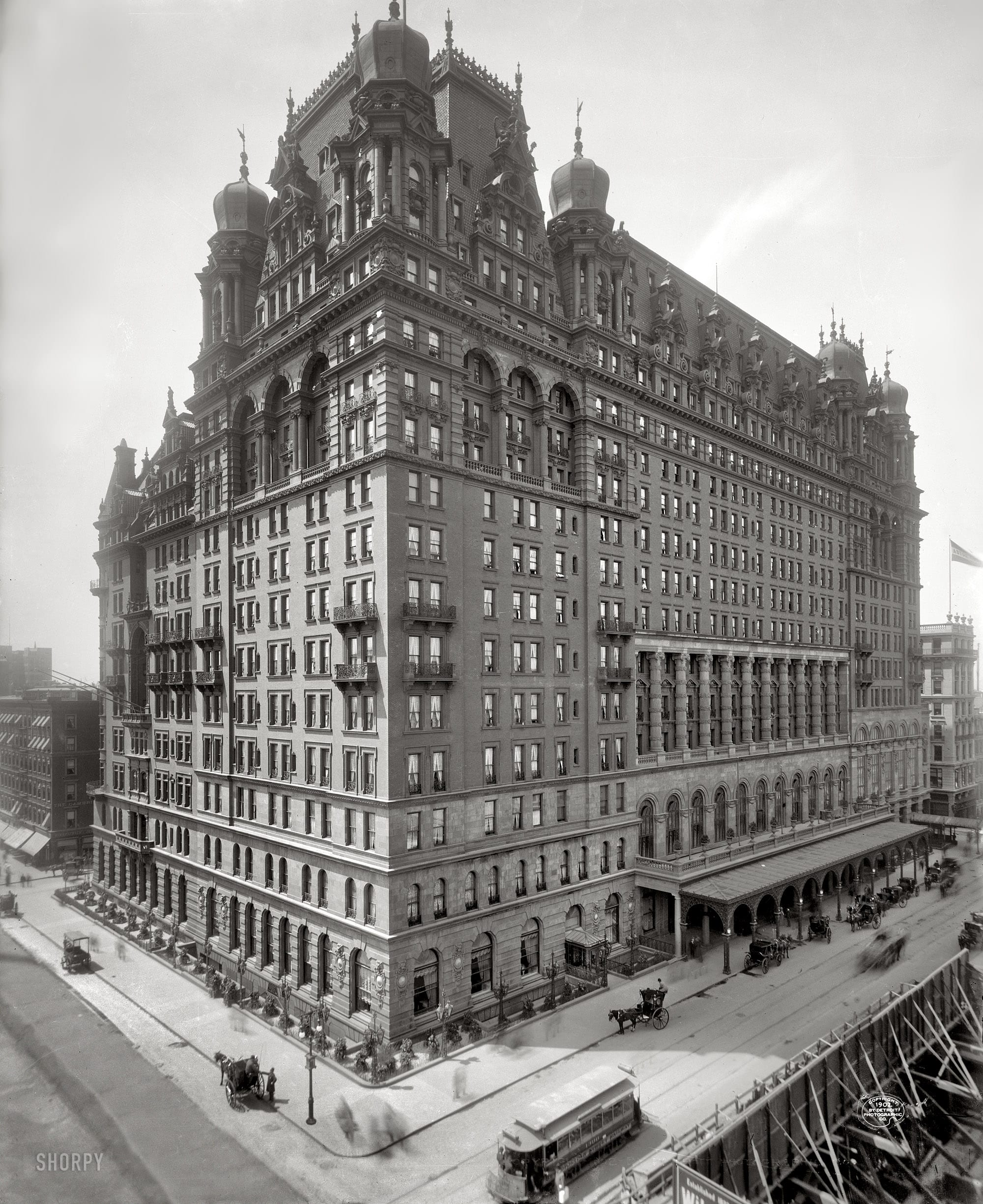 "Circa 1902. ""The Waldorf-Astoria, New York."" The original, and somewhat forbidding, Waldorf at Fifth Avenue and 34th Street. (Shorpy)"