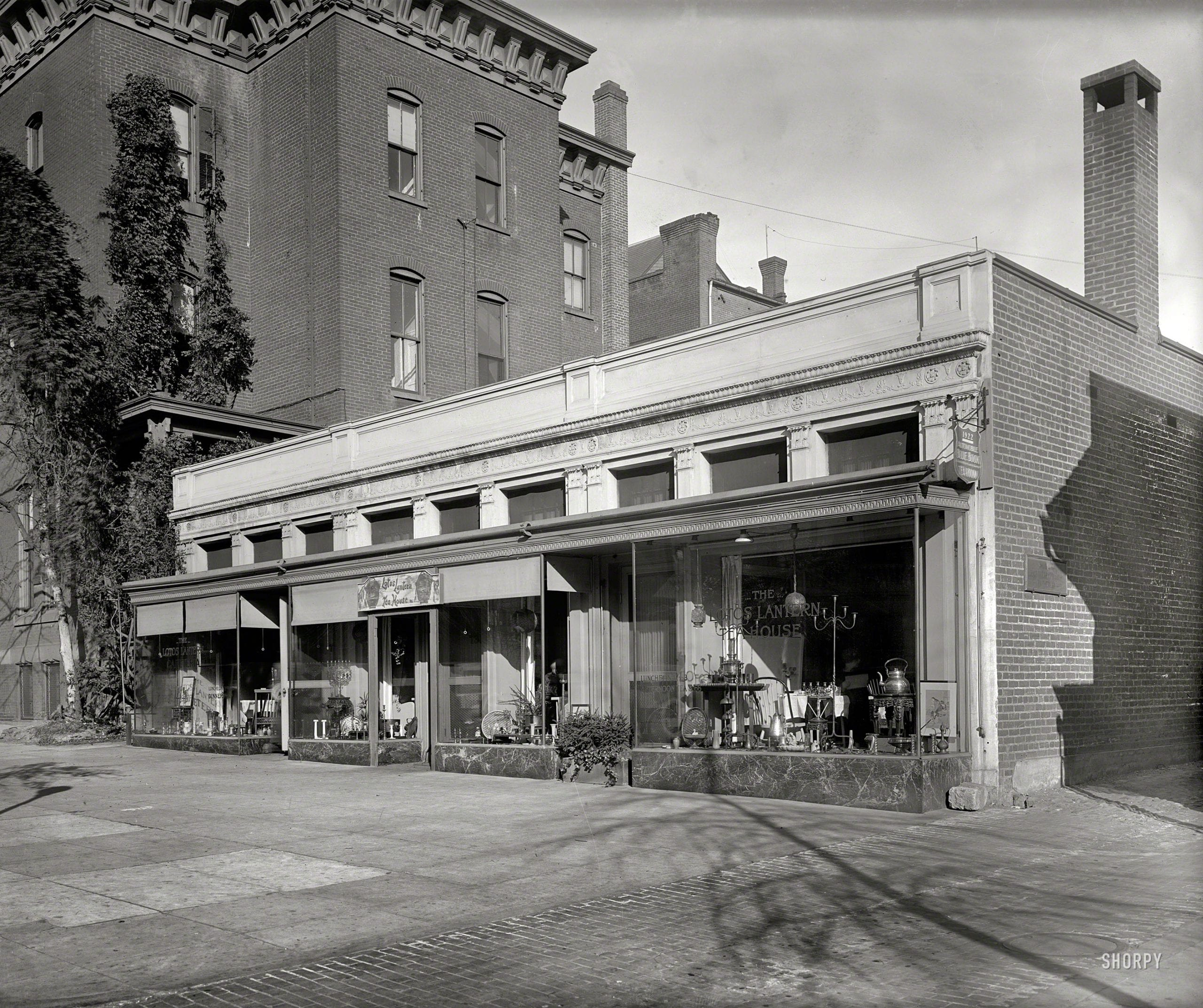 "Washington, D.C., circa 1922. ""Lotos Lantern."" Miss Steger's tea house at 731 13th Street. National Photo Company Collection glass negative."
