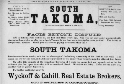 Takoma advertisement in the Sunday Herald - June 14th, 1891