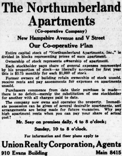 real estate advertisement in the Washington Times - March 26th, 1921