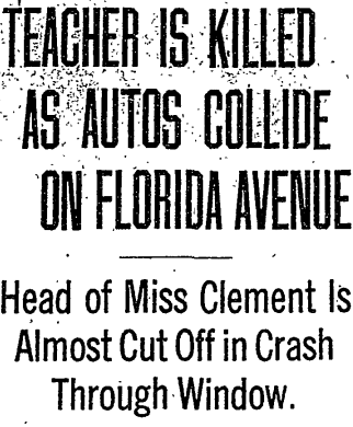 Autos Collide on Florida Avenue; Young Teacher Killed