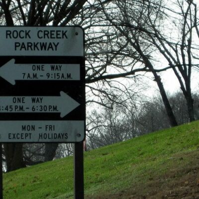 Rock Creek and Potomac Parkway one-way hours (Wikipedia)
