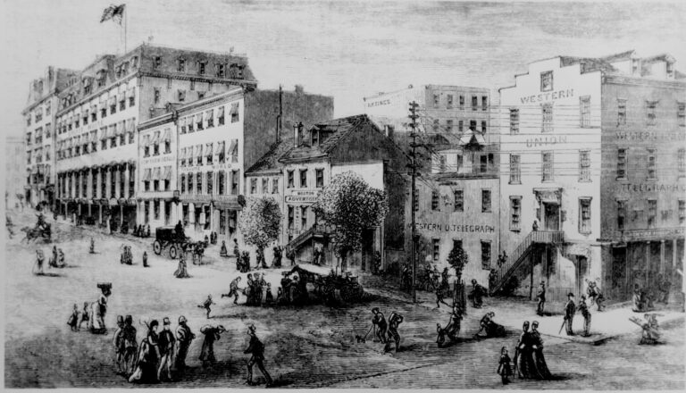 Newspaper row in 1874