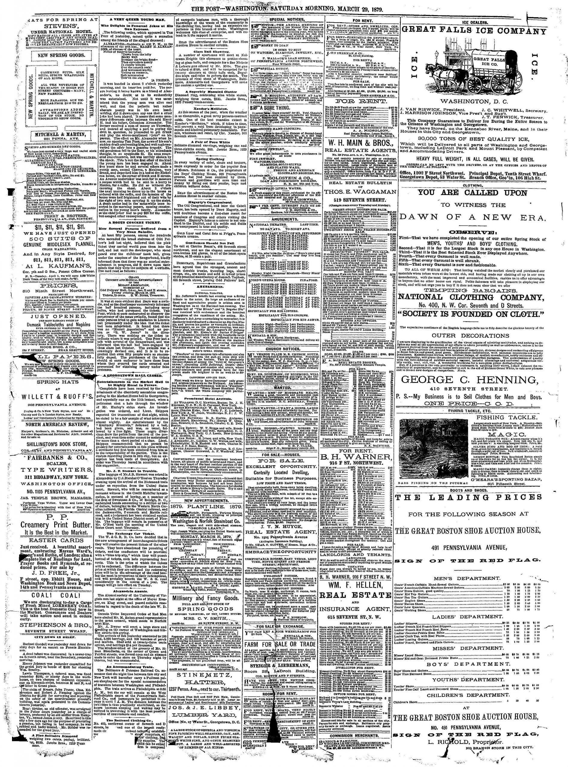 Washington Post classifieds - March 29th, 1879