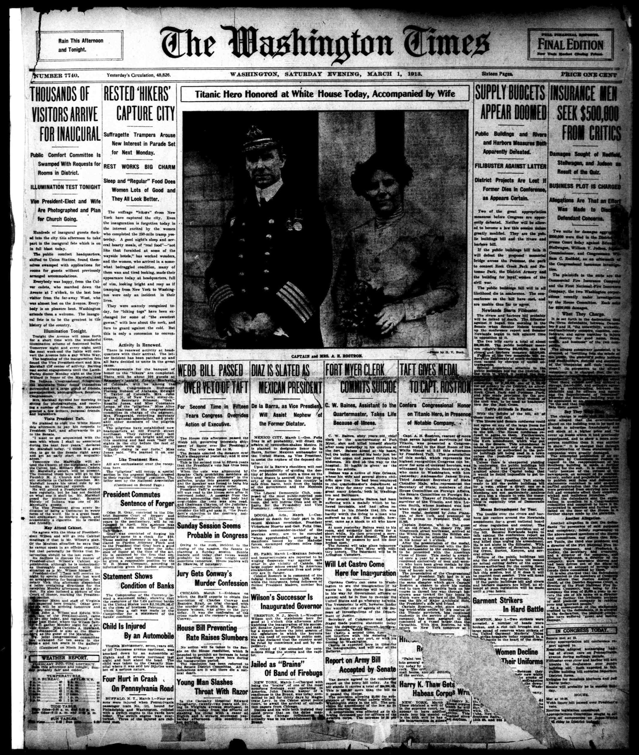 March 1st, 1913: Titanic Hero Honored at White House
