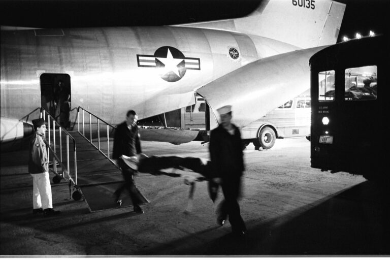 Wounded servicemen arriving from Vietnam at Andrews Air Force Base