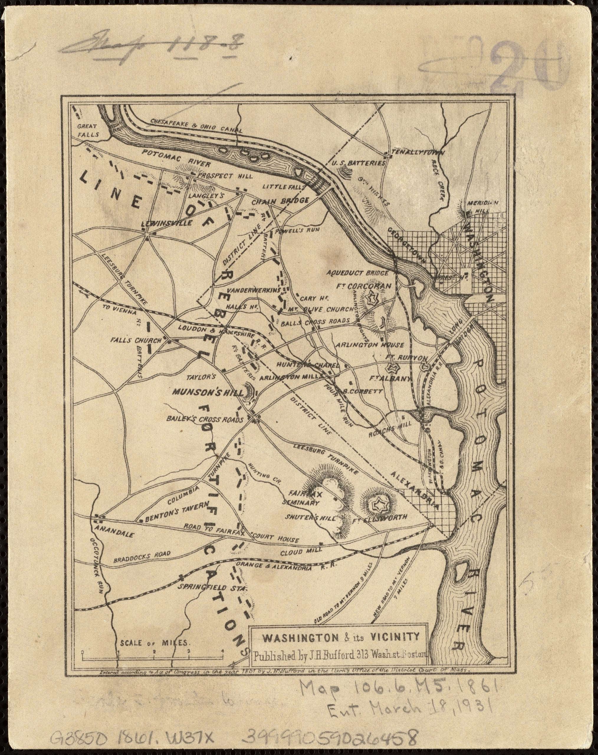 Civil War map of Confederate fortifications outside Washington