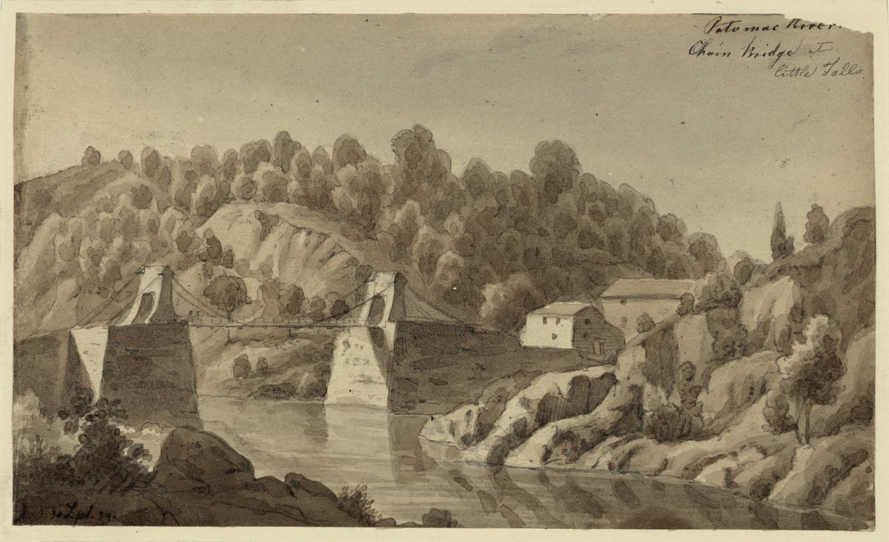 View from the Maryland side of the Chain Bridge over the Potomac River in 1839. This was the fourth bridge at that location, with several more since (September 1839)