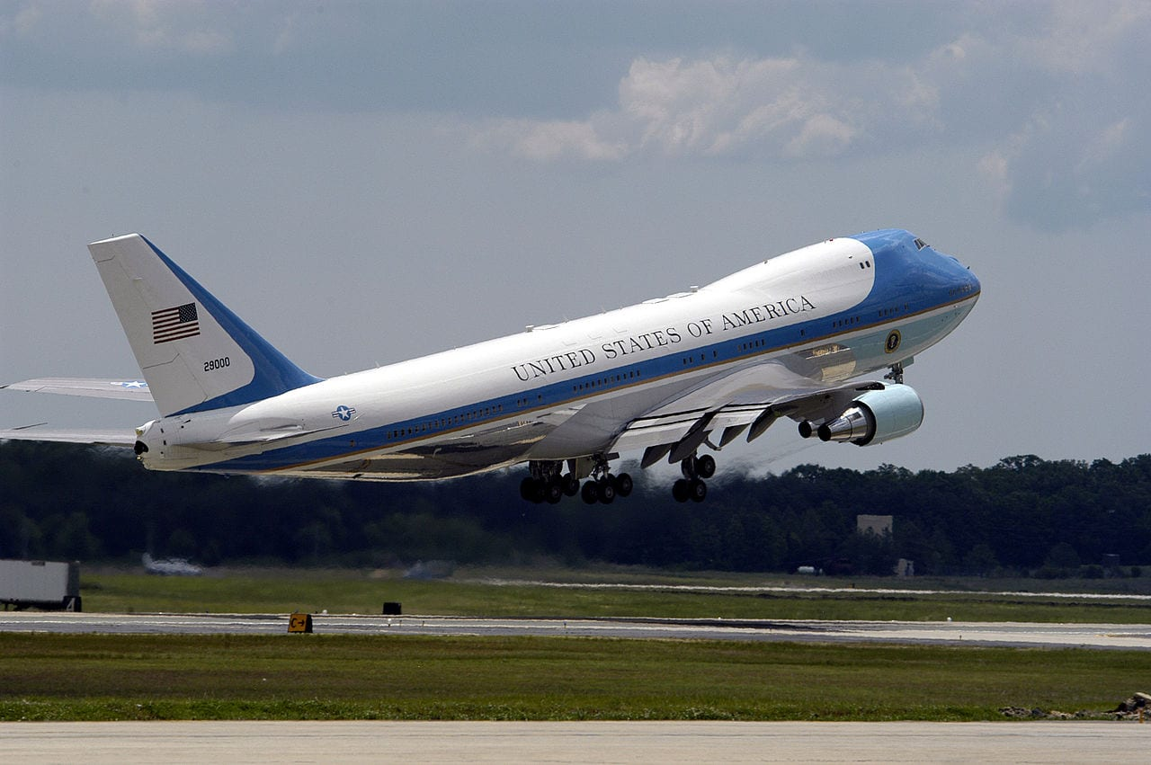 Andrews Air Force Base, Md. (May 21, 2005) - Air Force One takes off from Andrews Air Force Base, Md., during the 2005 Joint Service Open House. President George W. Bush was en route to Grand Rapids, Mich., to give a graduation speech to the 2005 graduates of Calvin College. The 89th Presidential Airlift Group at Andrews Air Force Base is responsible for Air Force One, which is housed in a 140,000-square-foot maintenance and support complex. The Joint Services Open House, held May 20-22, showcased civilian and military aircraft from the Nation's armed forces which provided many flight demonstrations and static displays. U.S. Navy photo by Photographer's Mate 2nd Class Daniel J. McLain (Wikipedia)