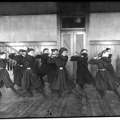 Female Students Exercising in the Gym (1899)