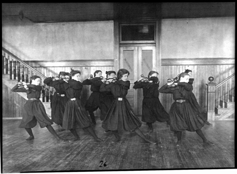 young women exercising with dumbbells at Western High School