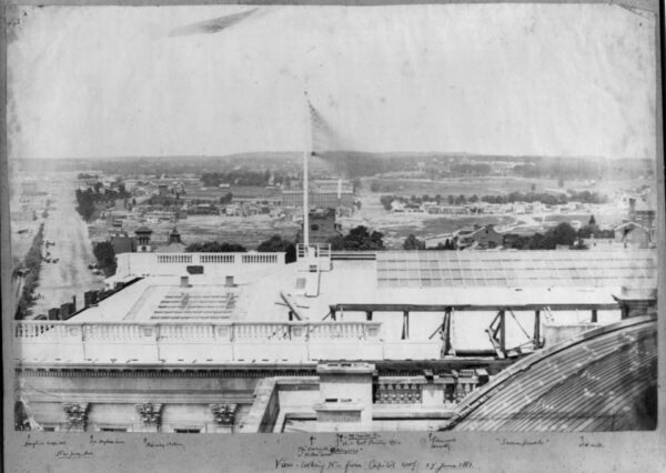 Photograph shows view of Washington, D.C., taken from U.S. Capitol, showing Douglas Hospital, Old Douglas House, Railway Station, The Washington, or Wilkes House, St. Aloysius, Government Printing Office, Glenwood Cemetery, Swampoodle, Old Mill.