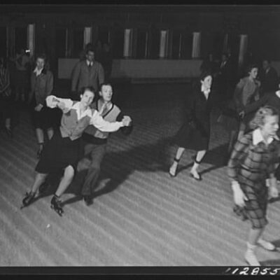 Chevy Chase Ice Palace, Washington. D.C. Couple doing fancy ice skating (Library of Congress)
