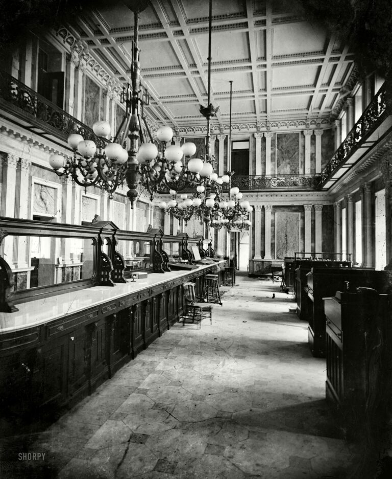 """Washington, D.C., early 1860s. """"Treasury Department in Lincoln's time (Cash Room behind the desks)."""""""