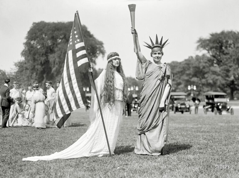"""Washington, D.C., 1919. """"Fourth of July tableau on the Ellipse -- 'Columbia,' 'Liberty' and dancers."""" Harris & Ewing Collection glass negative."""