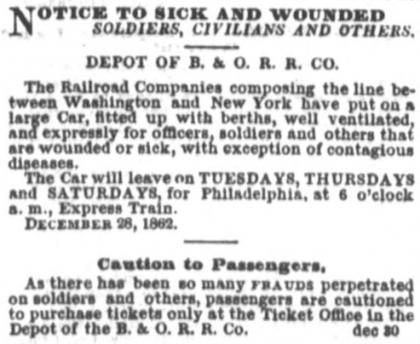 advertisement for soldiers in the Daily National Republican on February 7th, 1863