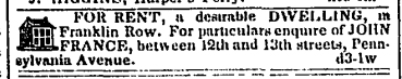 1841 real estate advertisement for Franklin Row