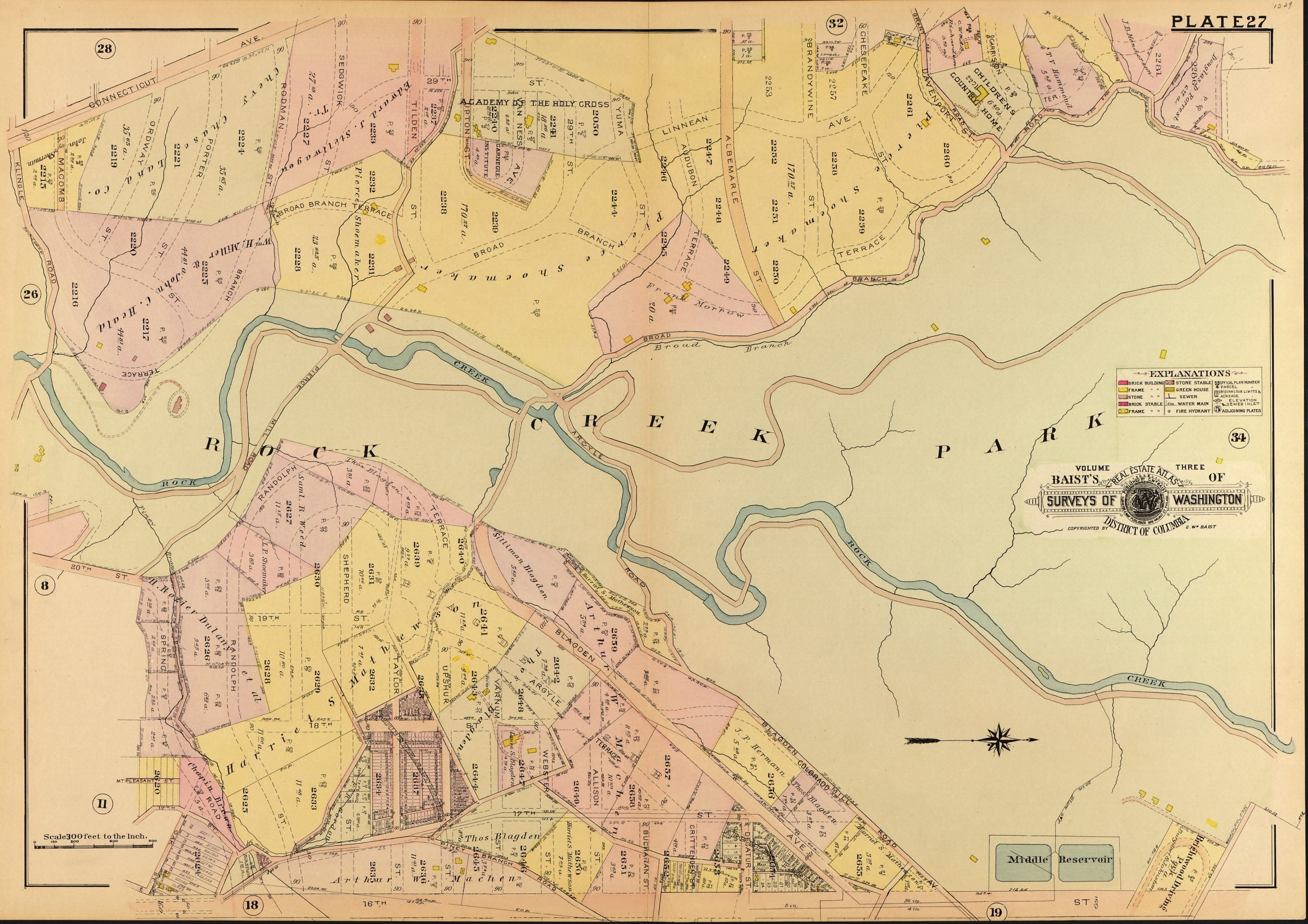 1907 Map of Peirce Mill and Rock Creek Park