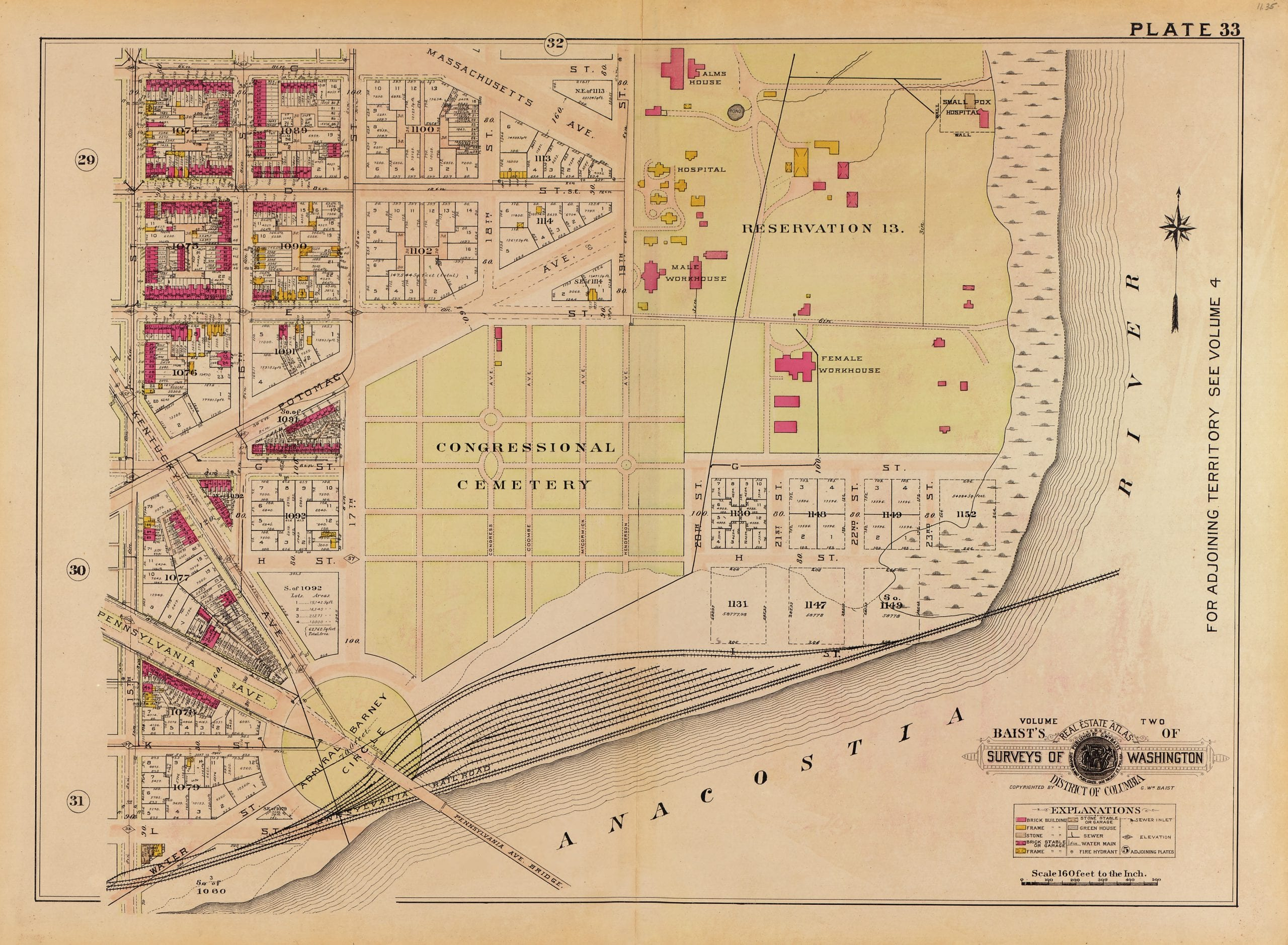 1915 map of the area around Congressional Cemetery