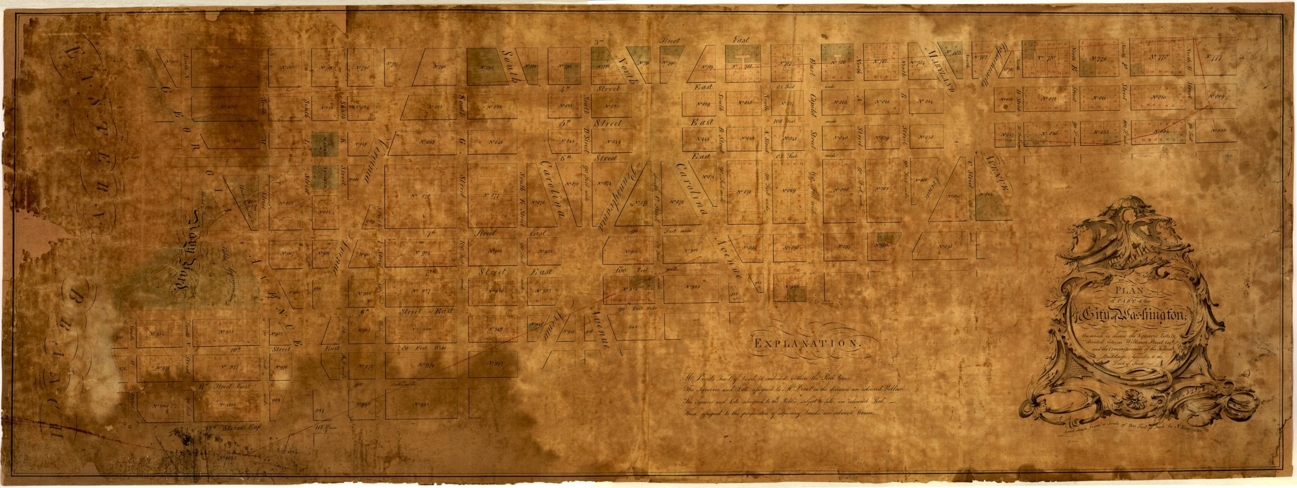 Plan of part of the city of Washington : on which is shewn the squares, lots, &c., divided between William Prout Esq'r and the Commissioners of the Federal Buildings, agreeably to the deed of trust / laid down from a scale of 200 feet pr. inch by N. King, 1800.