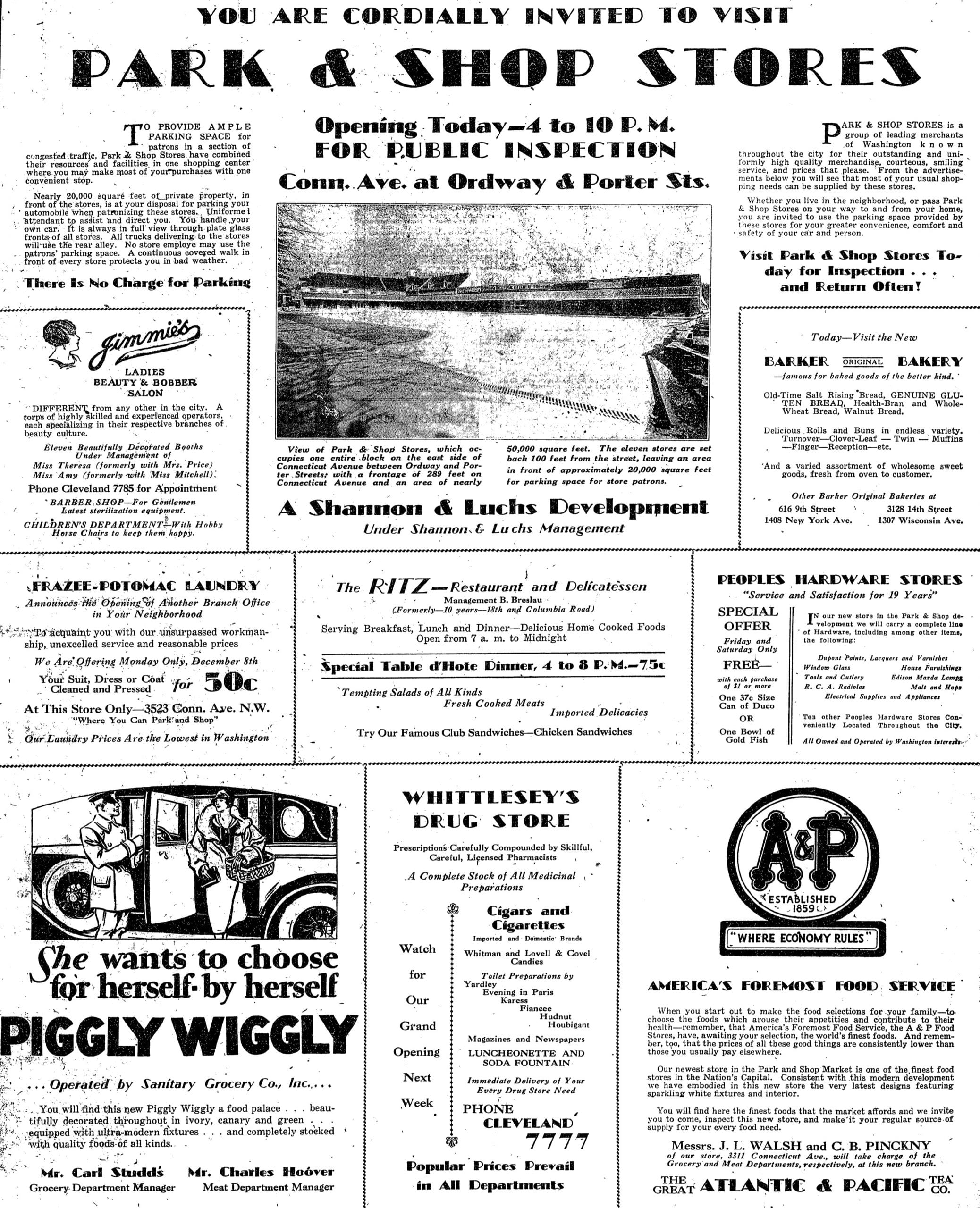 Park and Shop opening advertisement - Washington Post (December 5th, 1930)