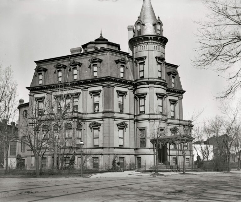 """Washington circa 1900. """"Stewart's Castle, Dupont Circle."""" The William Morris Stewart house on Massachusetts Avenue, designed by Adolph Cluss, shortly before it was demolished. National Photo glass negative."""