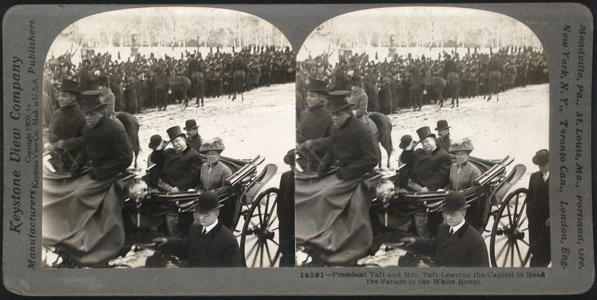 President and Mrs. Taft leaving the Capitol to head the parade to the White House [March 4, 1909].
