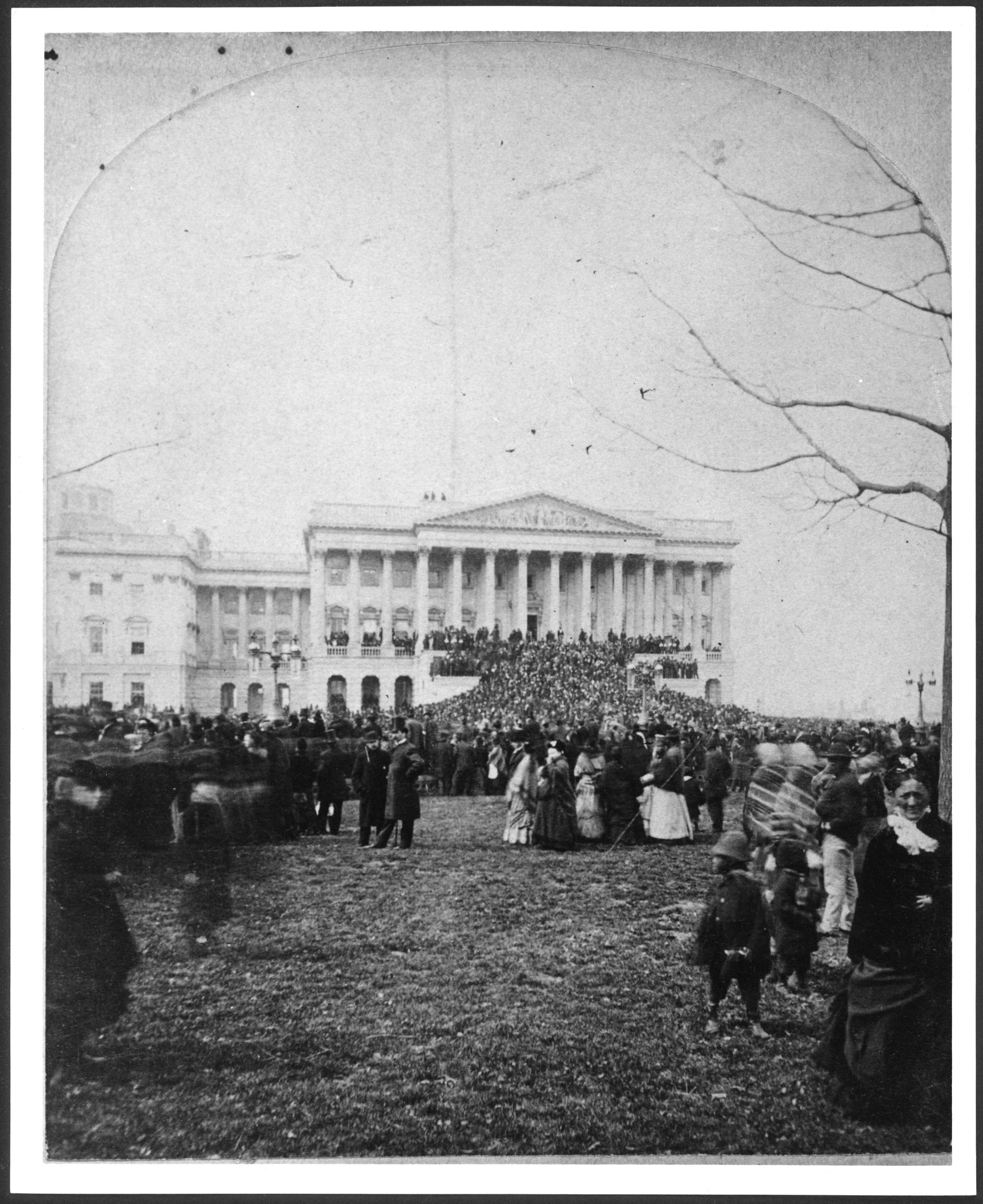Inauguration of President Hayes, showing the Senate wing of the U.S. Capitol and the crowd on the lawn before it, March 5, 1877]. Architect of the Capitol. Reproduction number: LC-USA7-29858 (b&w film copy neg.).