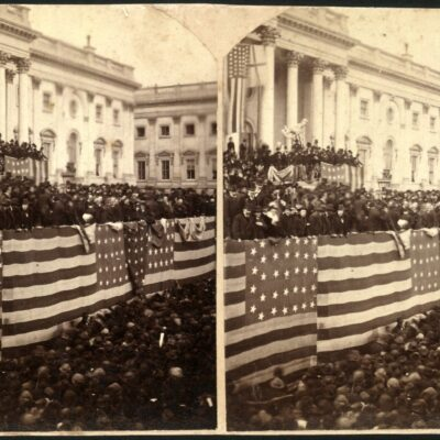 Chief Justice Morrison R. Waite administering the oath of office to Rutherford B. Hayes on a flag-draped inaugural stand on the east portico of the U.S. Capitol