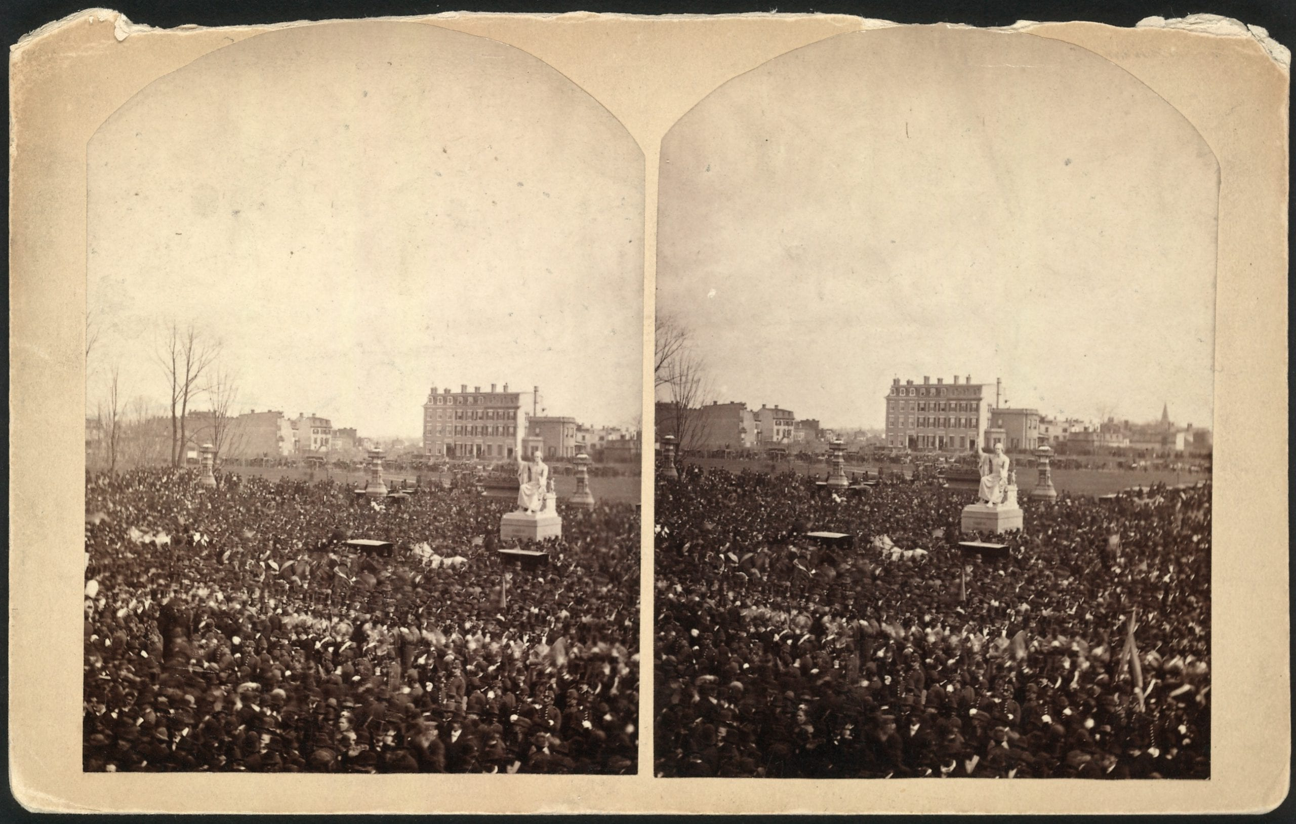 Crowd at the inauguration of Rutherford B. Hayes, on the east front grounds of the U.S. Capitol, surrounding Horatio Greenough's statue of George Washington, March 5, 1877. Library of Congress. Prints and Photographs Division. Reproduction number: LC-USZ62-104931 (b&w film copy neg.).