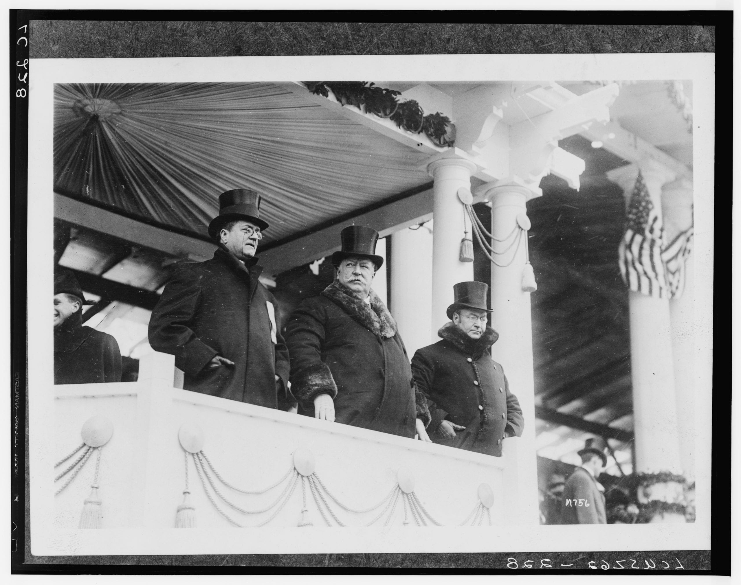 President Taft is here photographed with Edward F. Stallwagon [i.e. Edward J. Stellwagen], Chief of the Inaugural Committee, and with Vice President James S. Sherman--A severe blizzard hindered the ceremonies.
