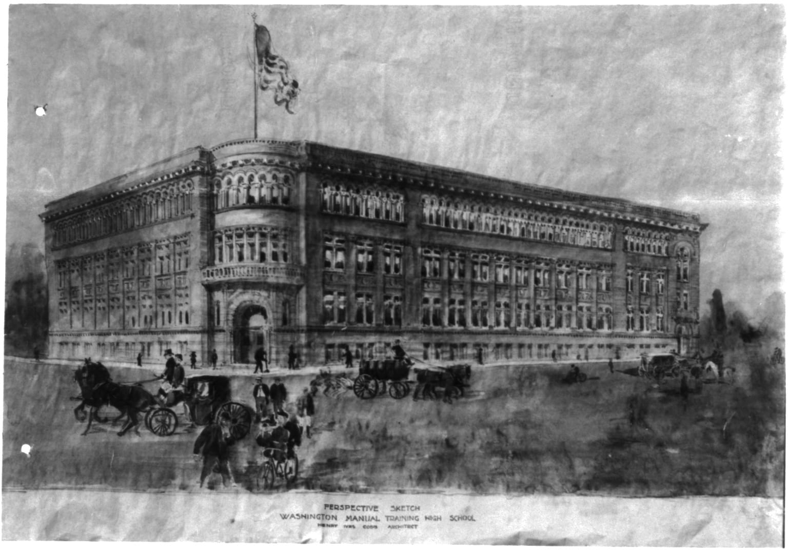 Perspective sketch - Washington Manual Training High School, Henry Ives Cobb, Architect (1895-1898)