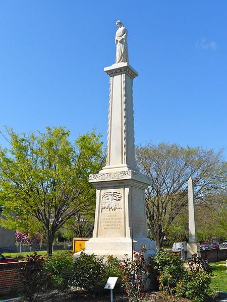 Monument to the victims of the 1864 explosion at the Washington, DC Arsenal. In the Congressional Cemetery, Washington, DC