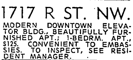 1717 R St. NW - June 9th, 1961