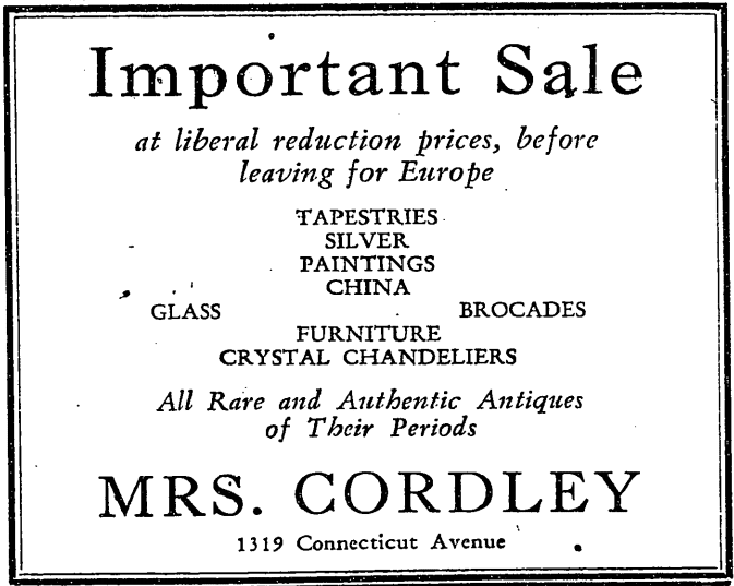 Mrs. Cordley's antiques store