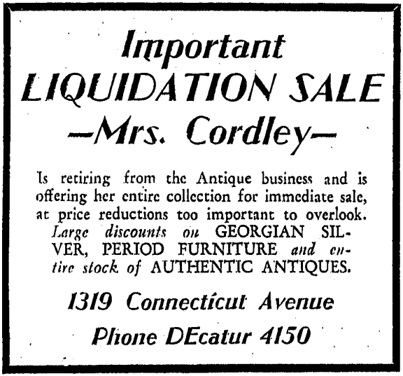 Mrs. Cordley's retirement advertisement - April 20th, 1937