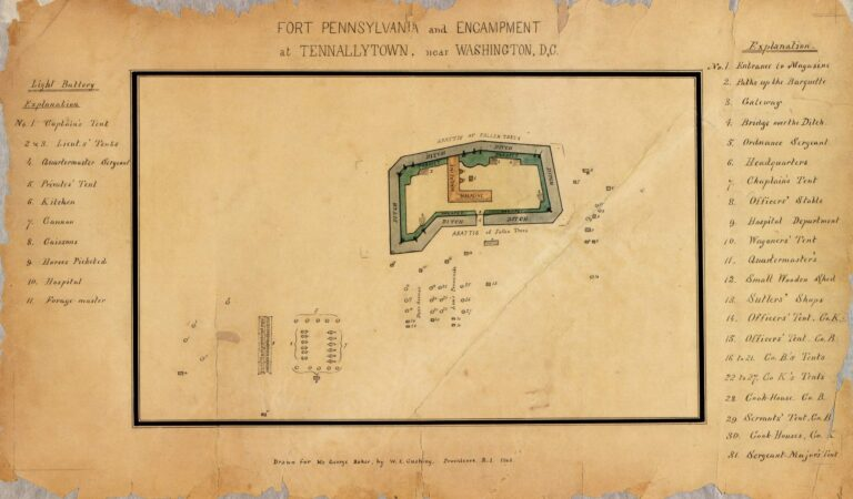 Fort Pennsylvania and encampment at Tennallytown near Washington, D.C. / drawn for Mr. George Baker by W.E. Cushing, Providence, R.I., 1862.