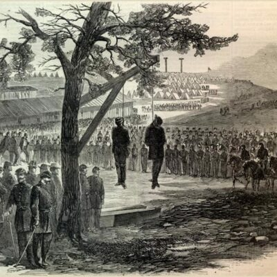 Hanging at Ft. Granger of William O Williams and Gip Peters Harper's Weekly July 4 1863