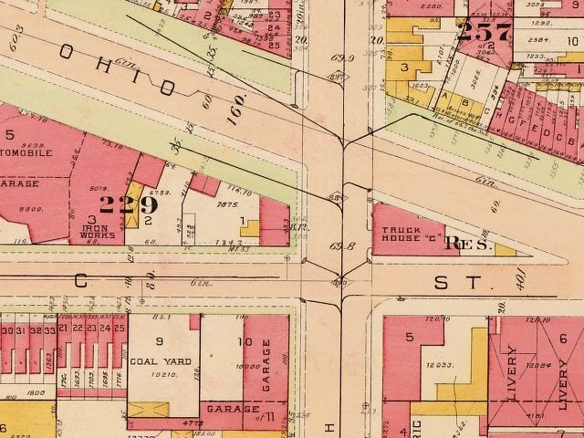 1913 map of Ohio Ave. and 14th St.