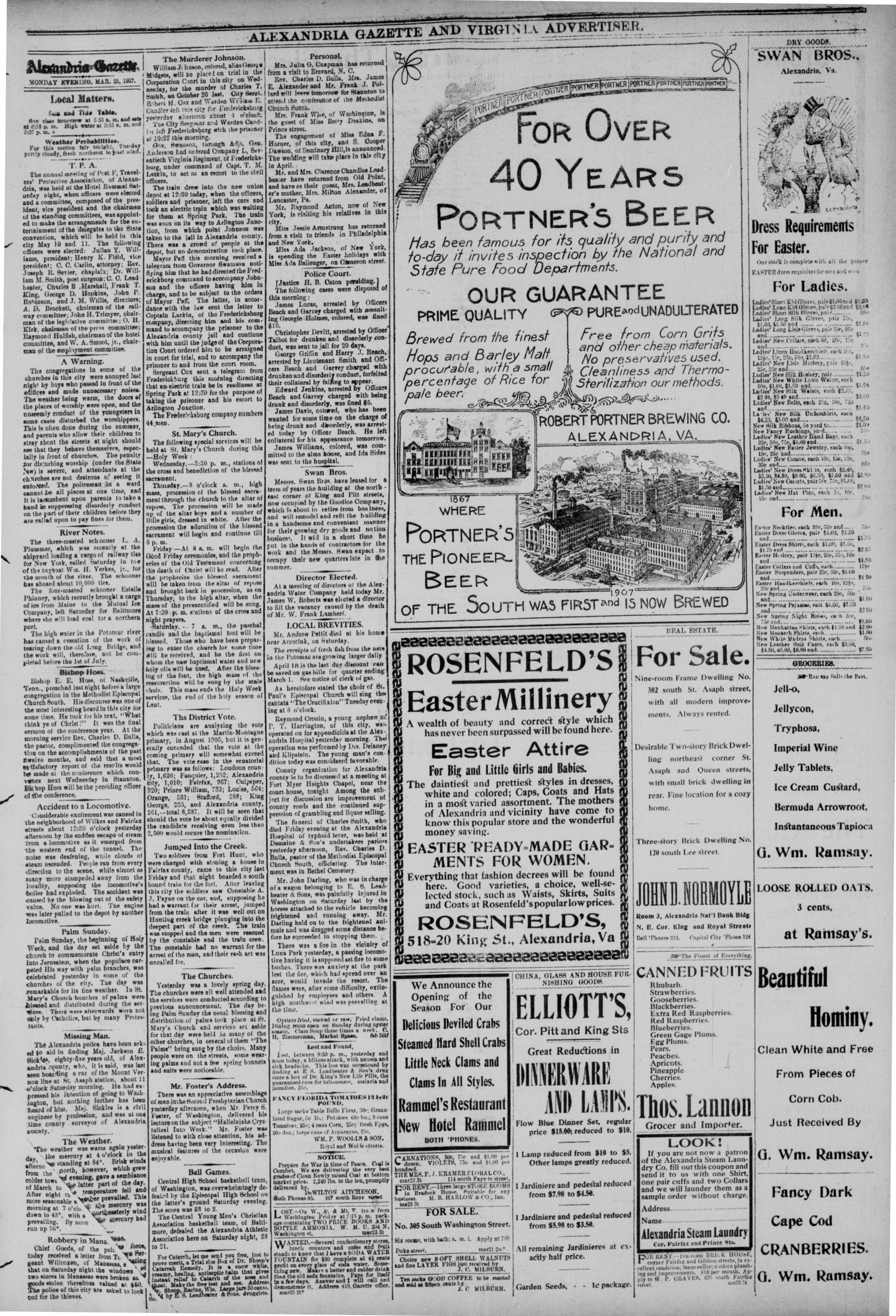 The Alexandria Gazette on March 25th, 1907