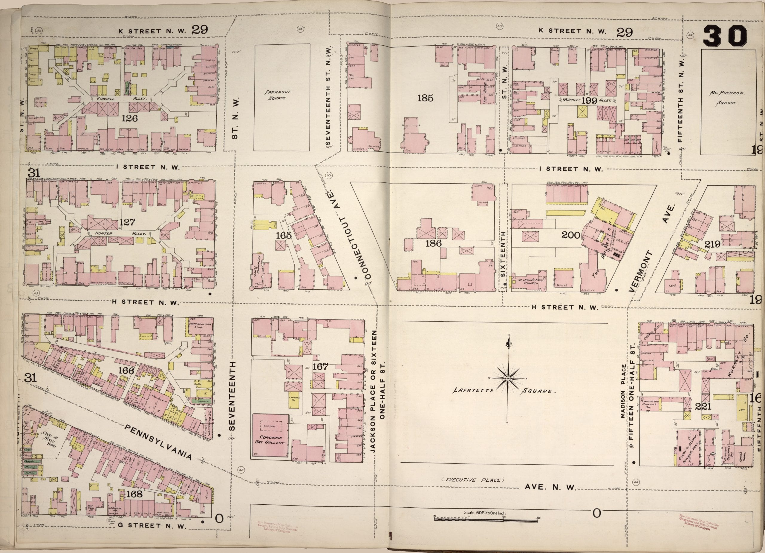 1888 Map of Lafayette Square and Farragut Square