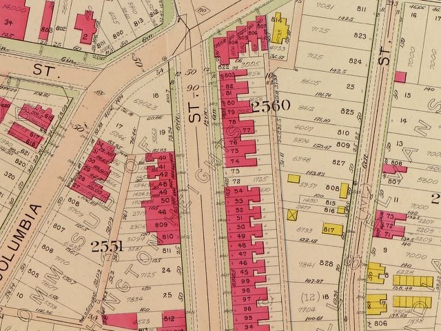 1907 map of 18th and Columbia