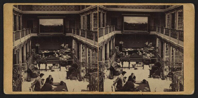 Stereograph showing an interior view of the Library of Congress with reading room and stacks in the U.S. Capitol building (1866)