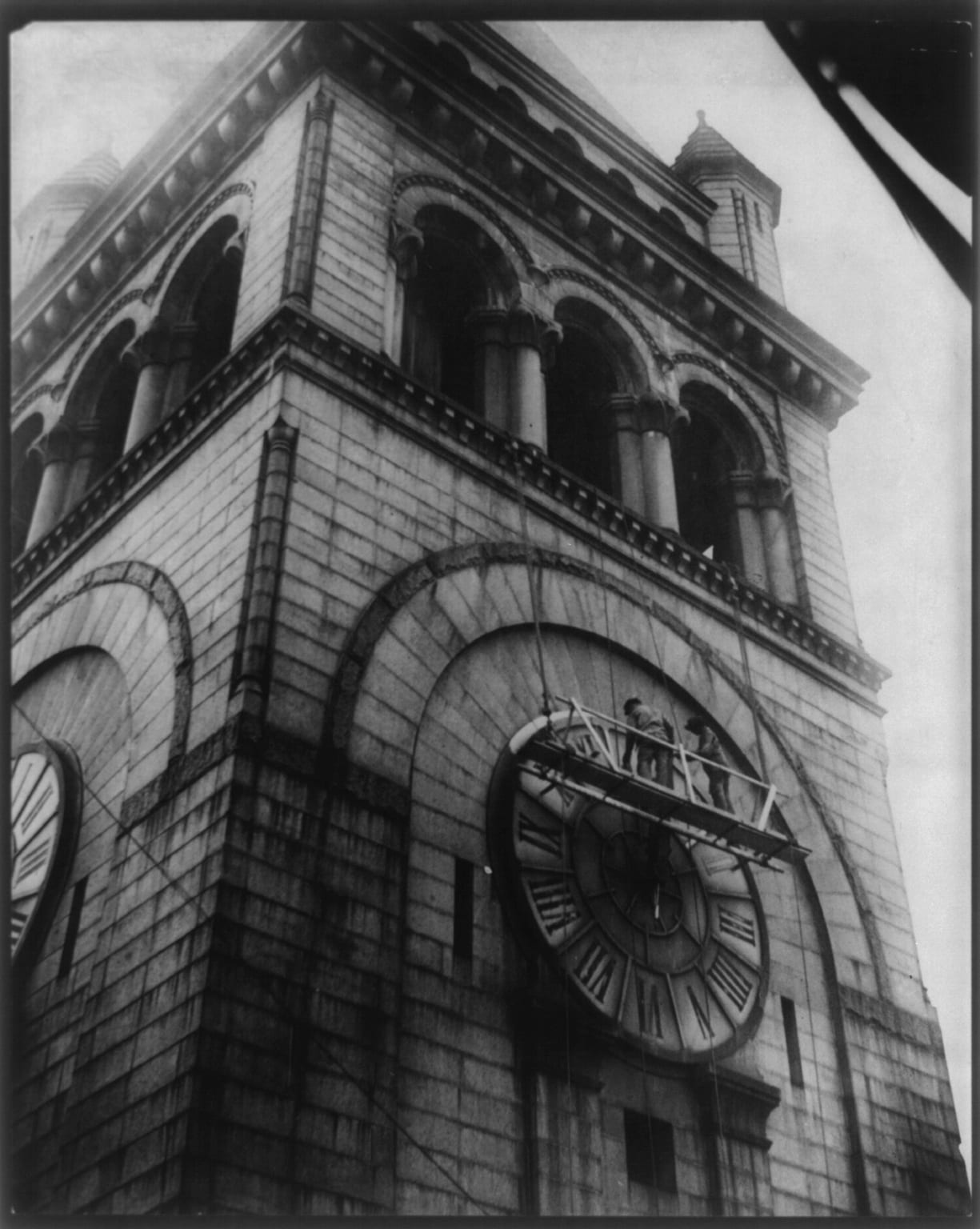 work being performed on the clock tower