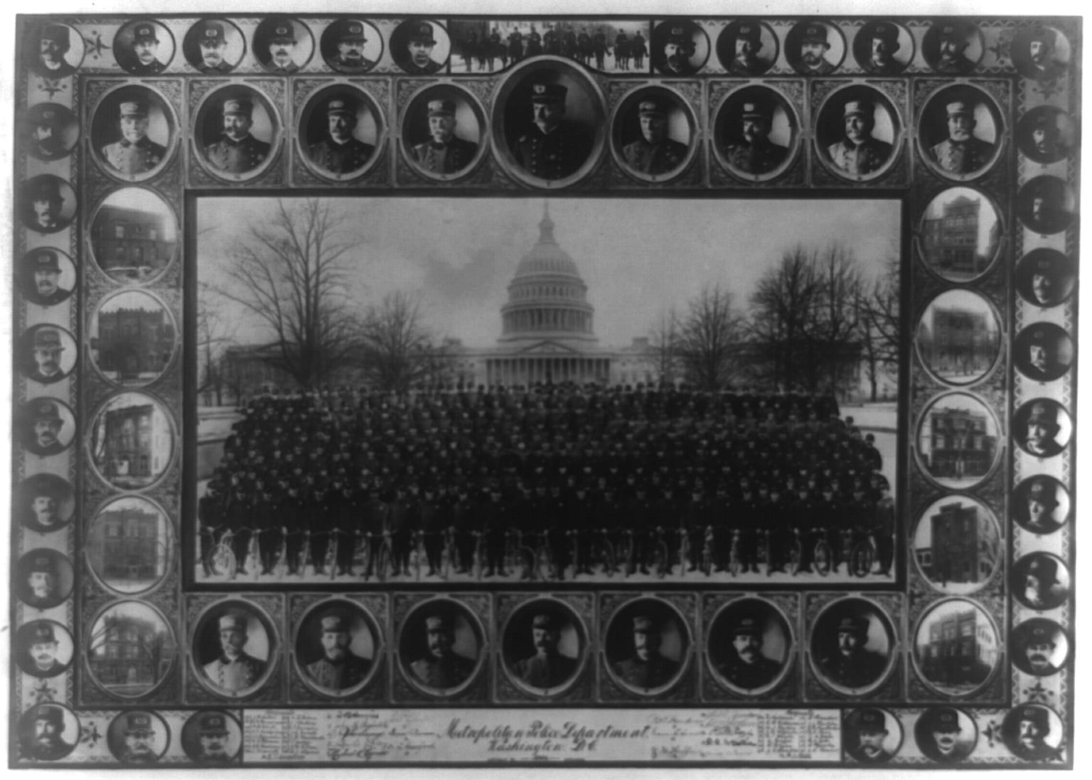 Composite of large group of policemen with U.S. Capitol in background. Head-and-shoulders portraits of policemen and police stations around border.
