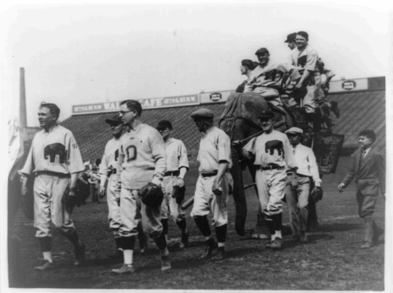 Members of the Republican baseball team of the House of Representatives parading around the field at American League Park
