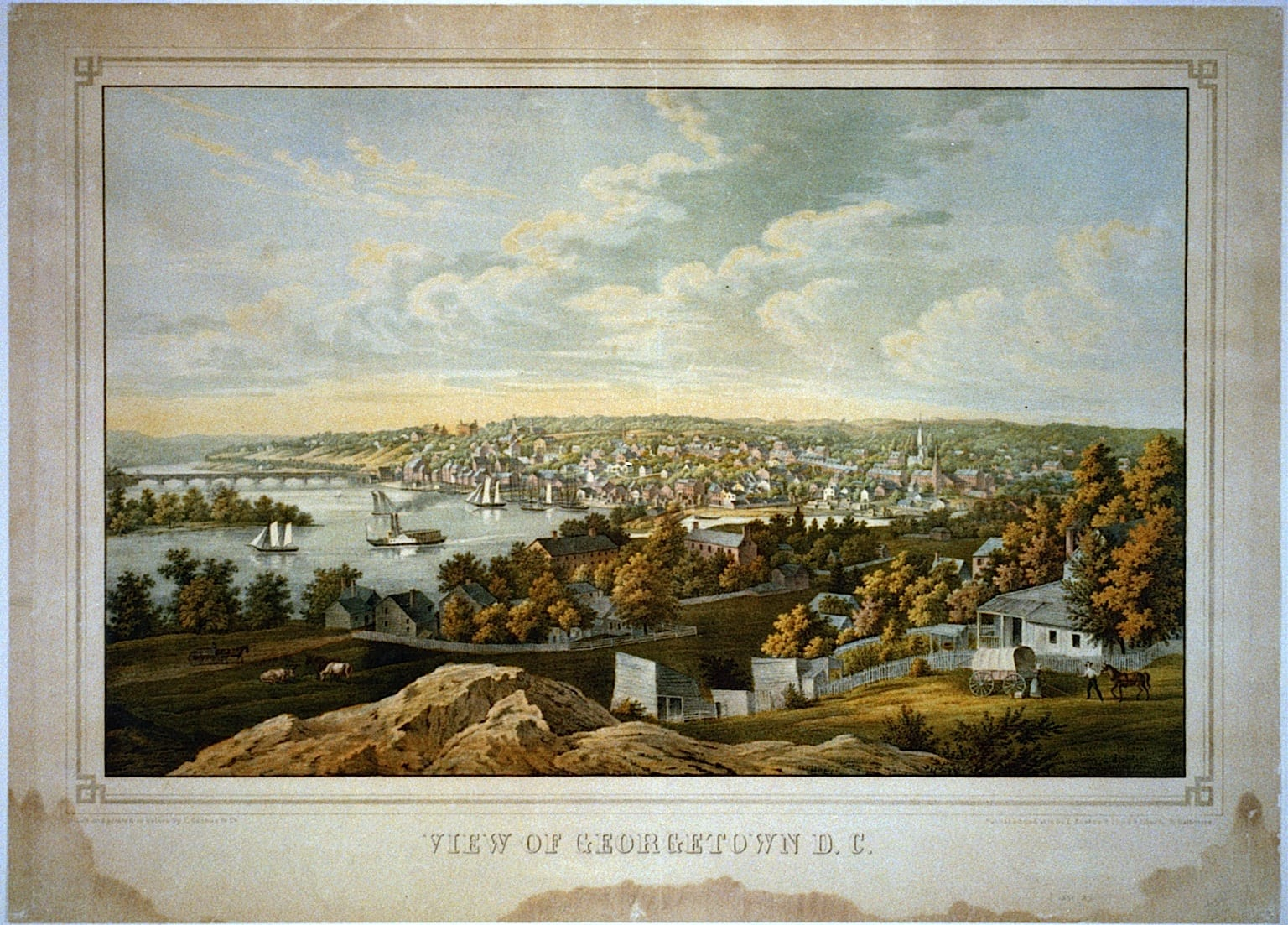 View of Georgetown D.C. / lith. and printed in colors by E. Sachse & Co.